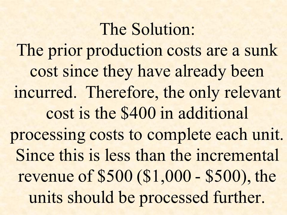 The Solution: The prior production costs are a sunk cost since they have already been incurred.