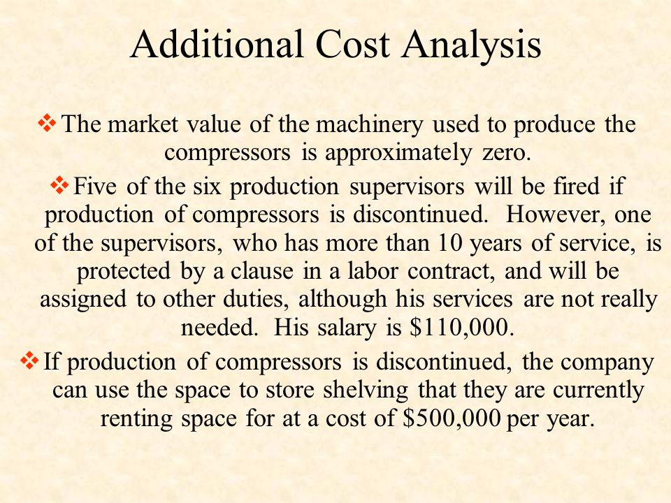 Additional Cost Analysis