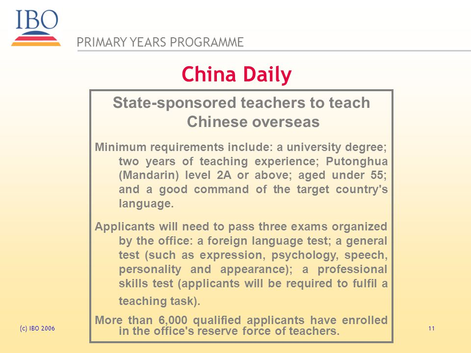 State-sponsored teachers to teach Chinese overseas
