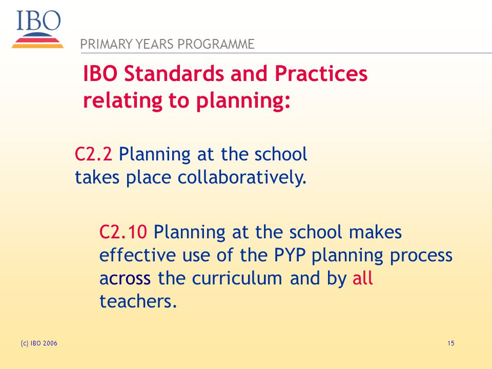 IBO Standards and Practices relating to planning: