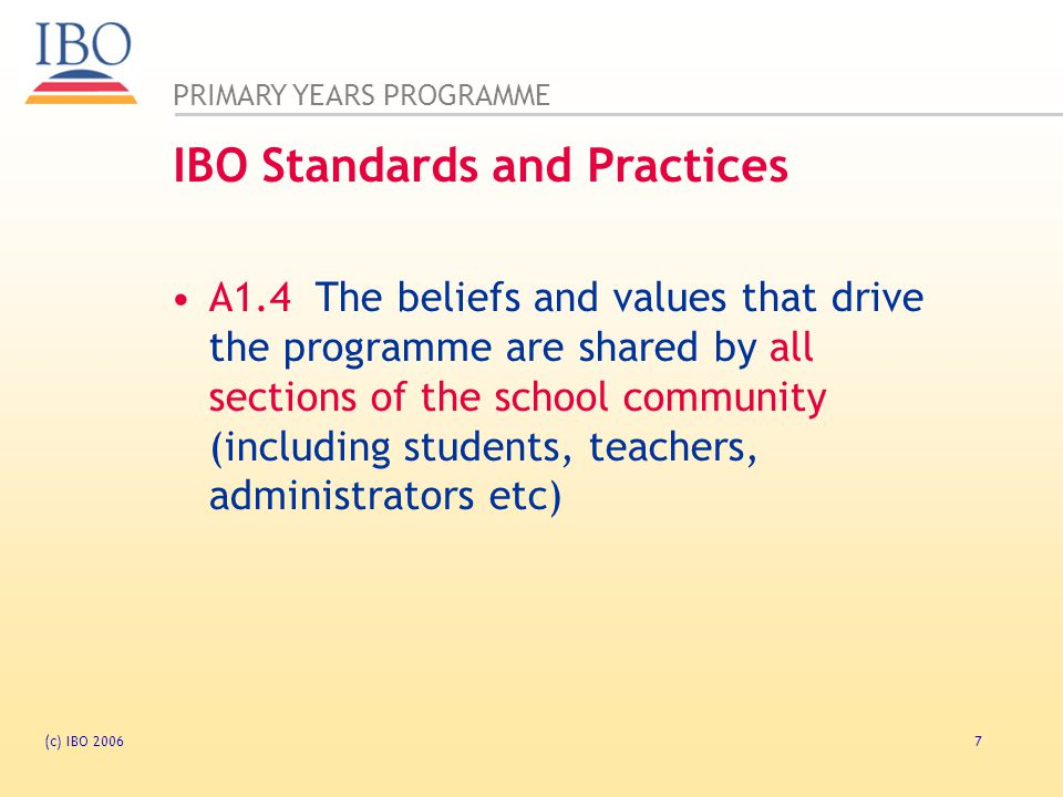 IBO Standards and Practices