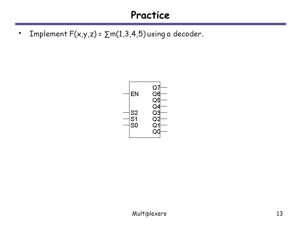 Practice Implement F(x,y,z) = ∑m(1,3,4,5) using a decoder.