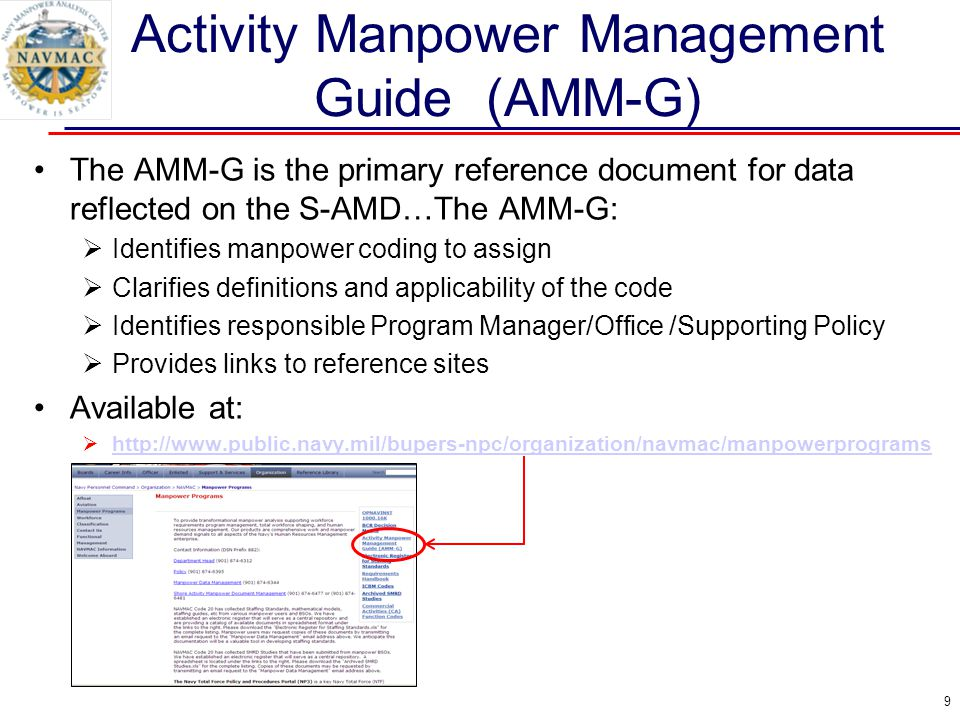 Activity Manpower Management Guide (AMM-G)