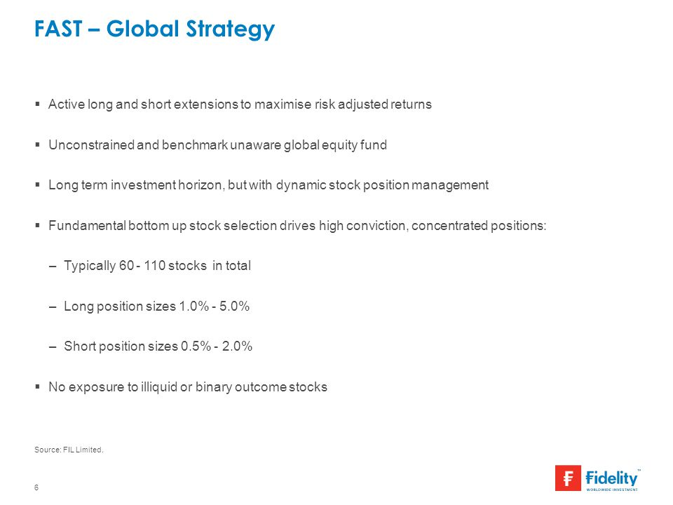 FAST – Global Strategy Active long and short extensions to maximise risk adjusted returns. Unconstrained and benchmark unaware global equity fund.