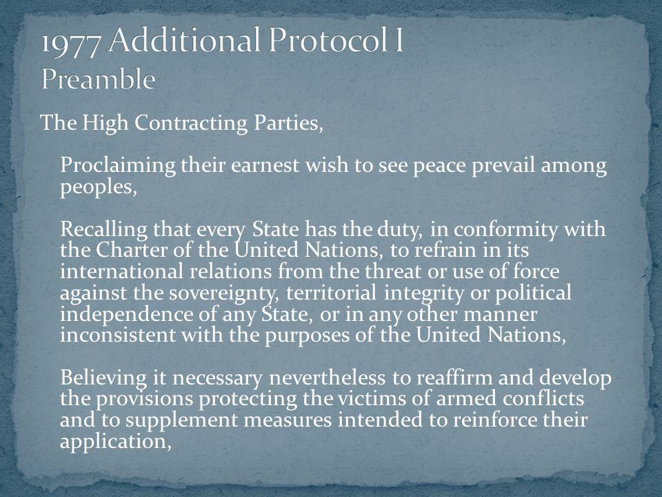 1977 Additional Protocol I Preamble