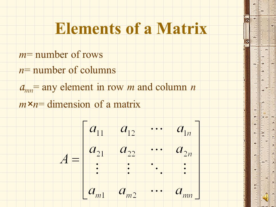 Elements of a Matrix amn= any element in row m and column n