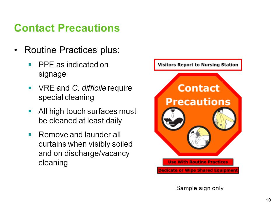 Contact Precautions Routine Practices plus:
