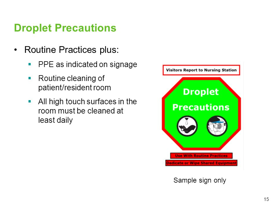 Droplet Precautions Routine Practices plus: