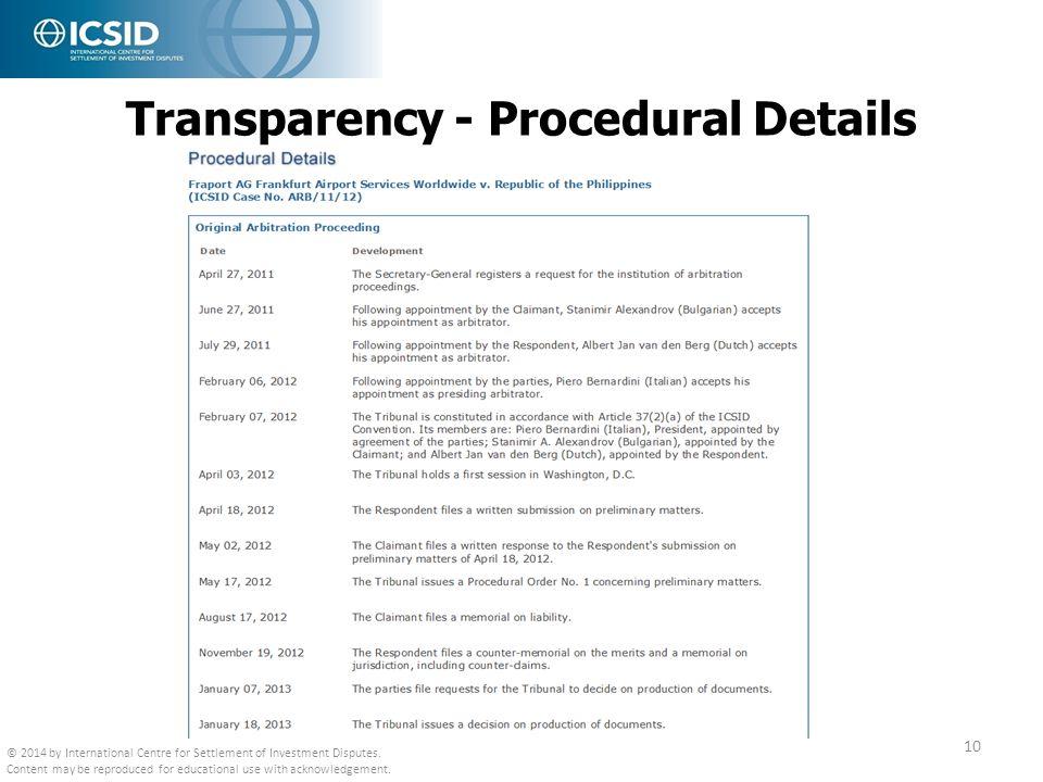 Transparency - Procedural Details