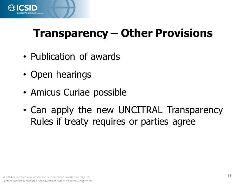 Transparency – Other Provisions