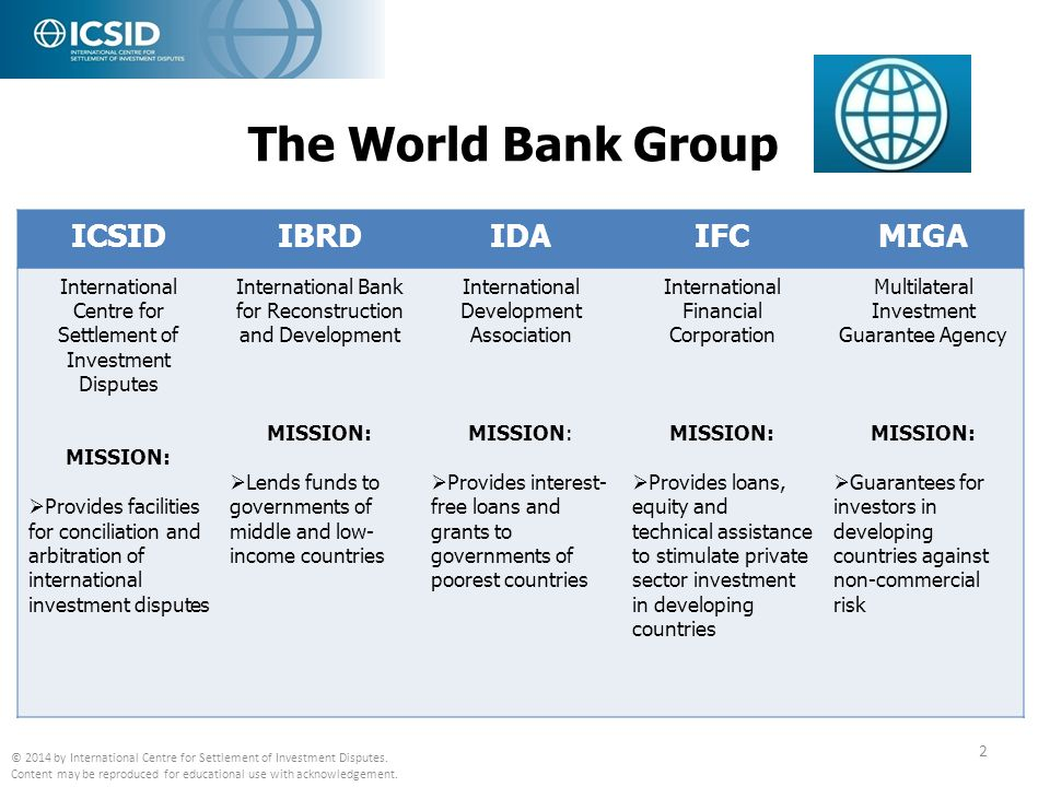 The World Bank Group ICSID IBRD IDA IFC MIGA
