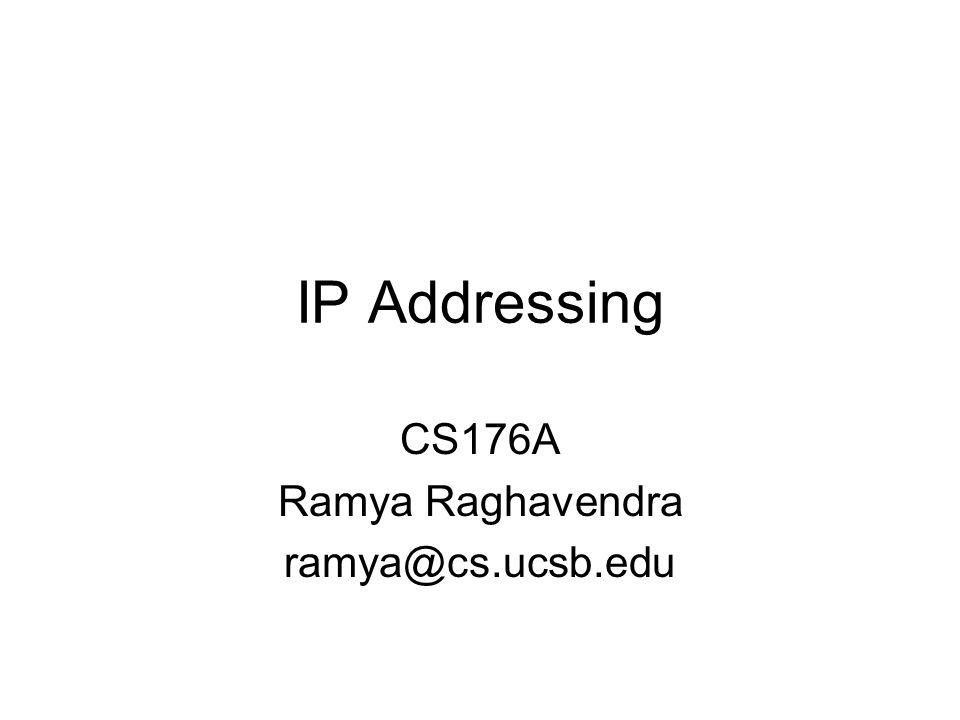 CS176A Ramya Raghavendra ramya@cs.ucsb.edu