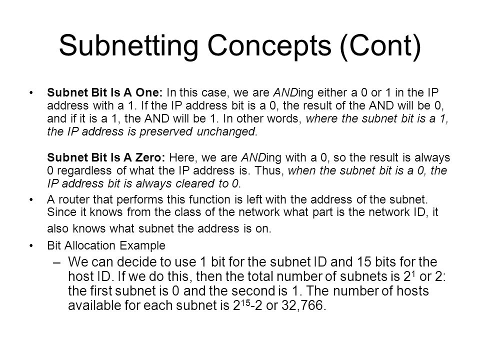 Subnetting Concepts (Cont)