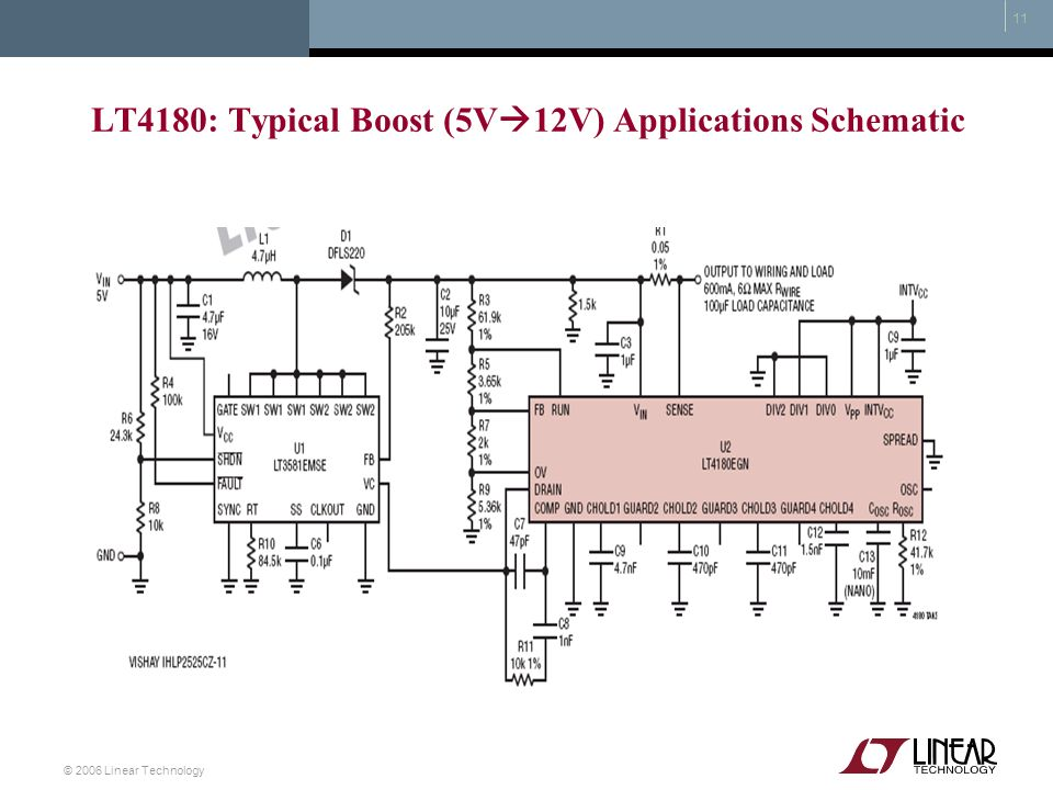 LT4180: Typical Boost (5V12V) Applications Schematic