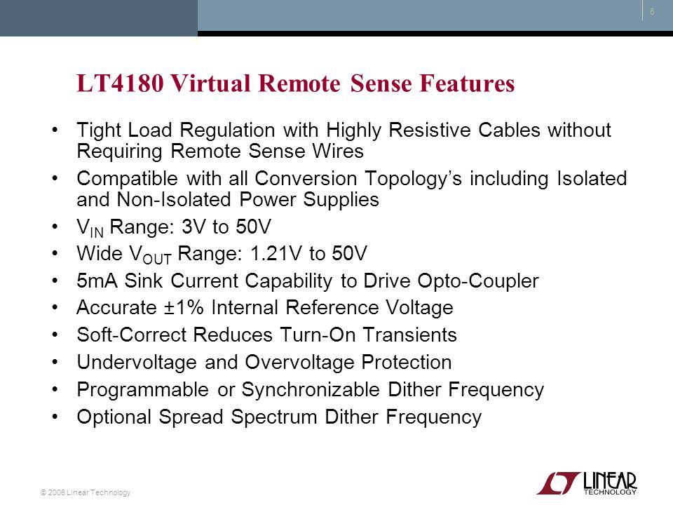 LT4180 Virtual Remote Sense Features