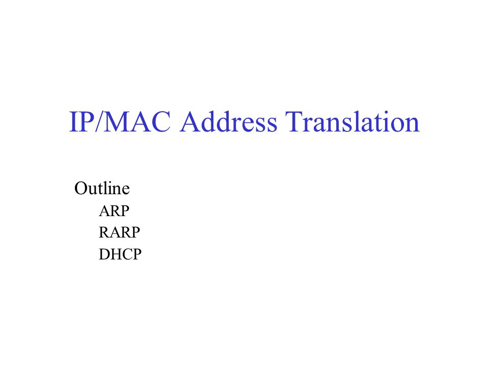 IP/MAC Address Translation