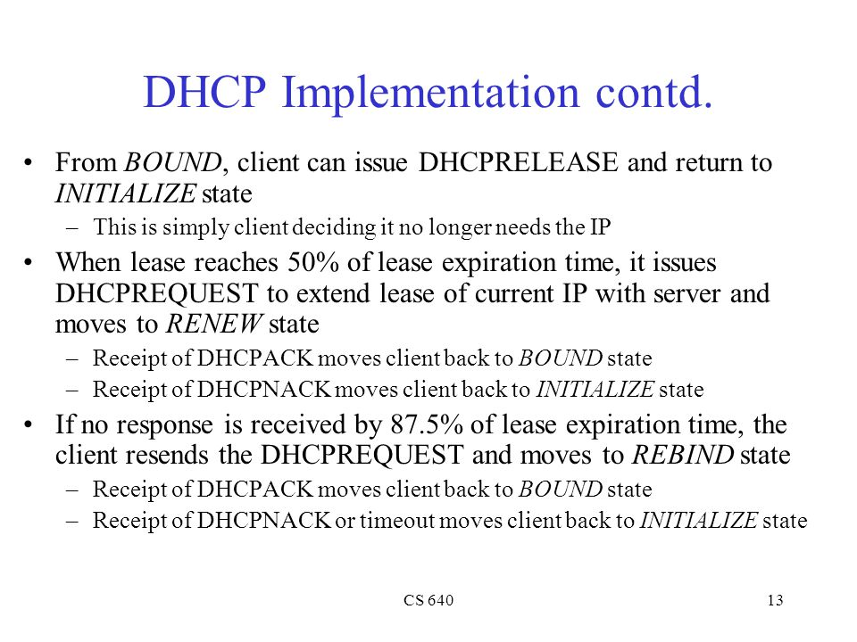 DHCP Implementation contd.