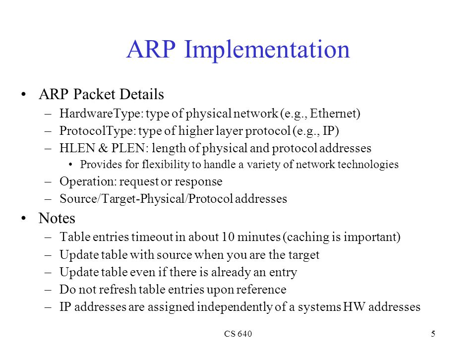 ARP Implementation ARP Packet Details Notes