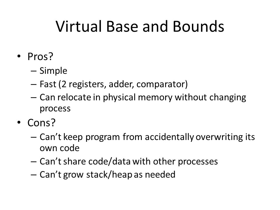 Virtual Base and Bounds
