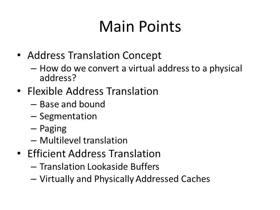 Main Points Address Translation Concept Flexible Address Translation