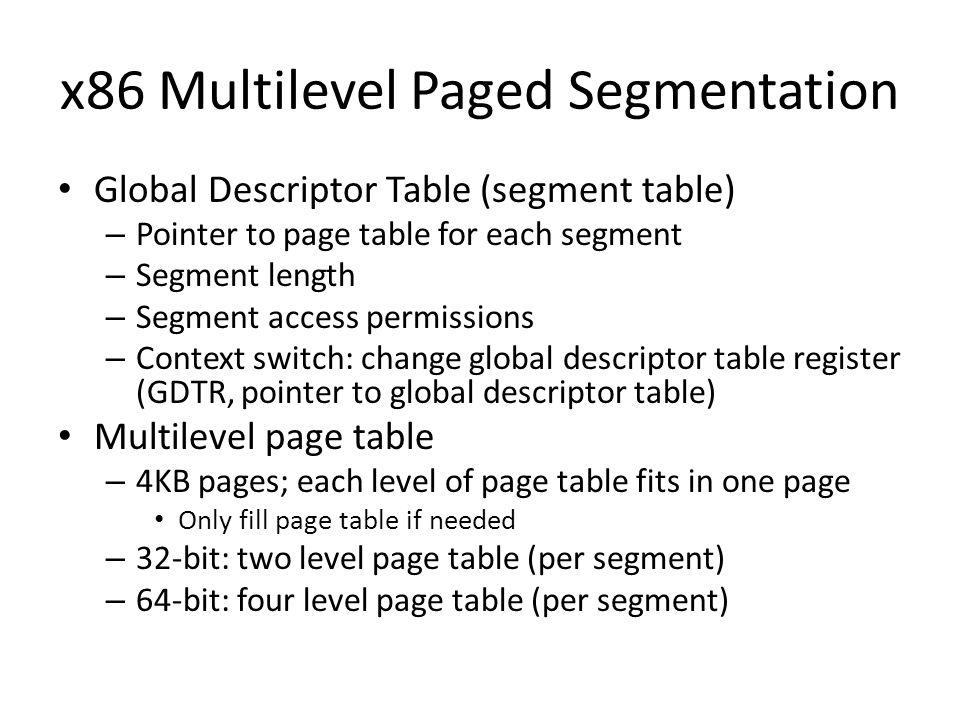 x86 Multilevel Paged Segmentation