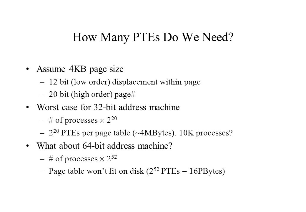 How Many PTEs Do We Need Assume 4KB page size