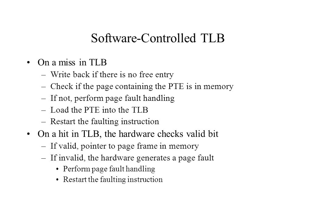 Software-Controlled TLB