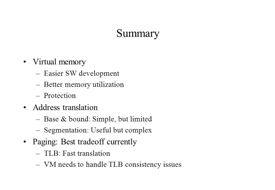 Summary Virtual memory Address translation