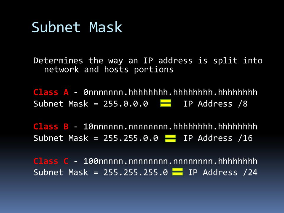 Subnet Mask Determines the way an IP address is split into network and hosts portions. Class A - 0nnnnnnn.hhhhhhhh.hhhhhhhh.hhhhhhhh.