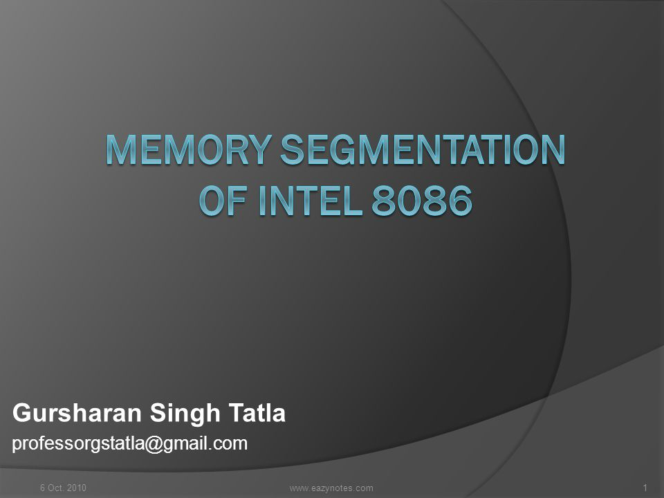 Memory Segmentation of Intel 8086