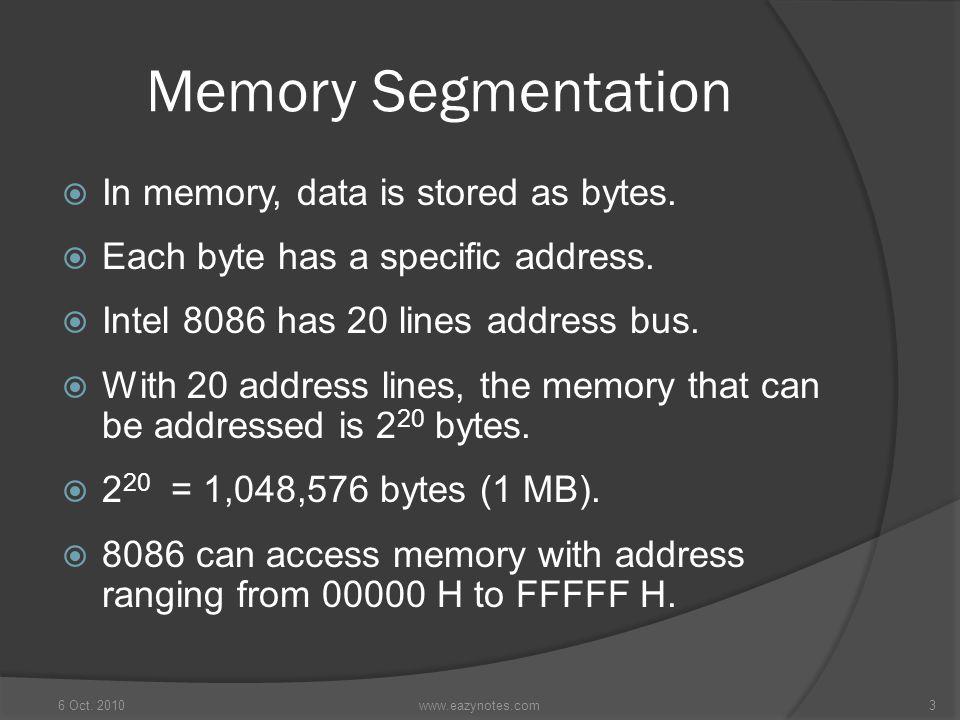 Memory Segmentation In memory, data is stored as bytes.