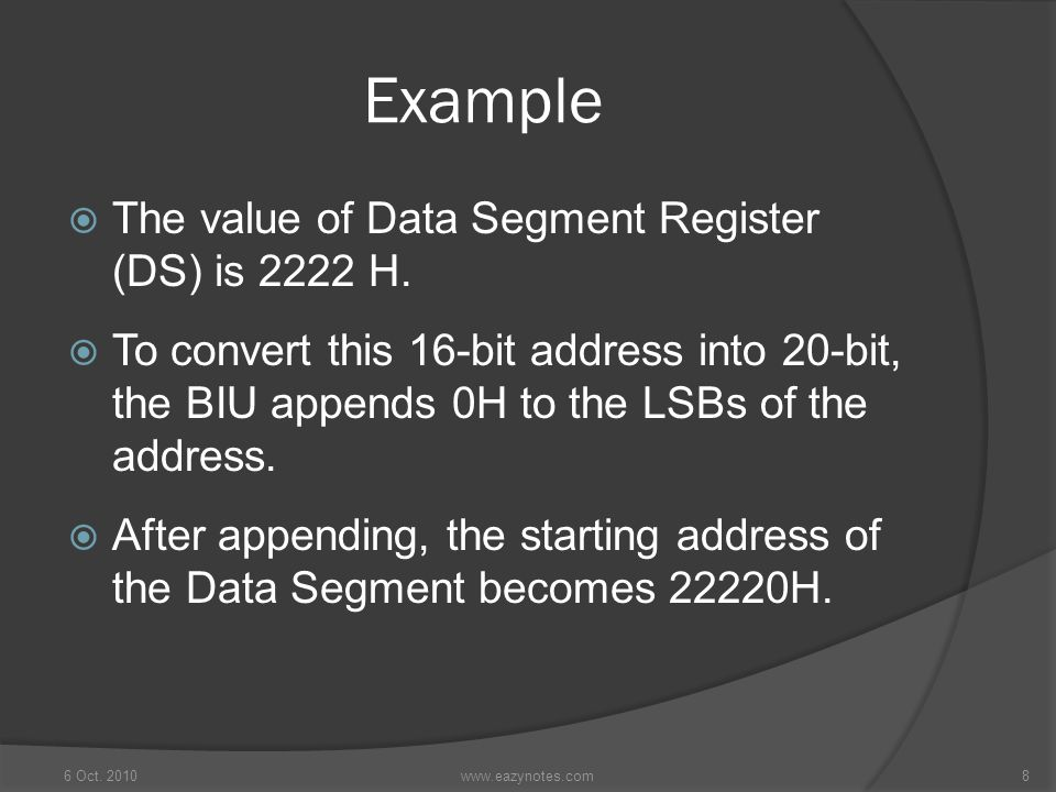 Example The value of Data Segment Register (DS) is 2222 H.