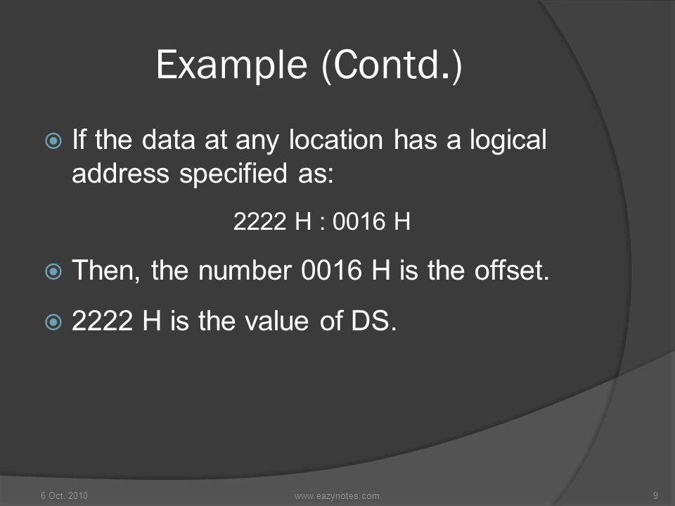 Example (Contd.) If the data at any location has a logical address specified as: 2222 H : 0016 H.