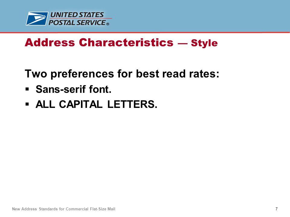 Address Characteristics — Style