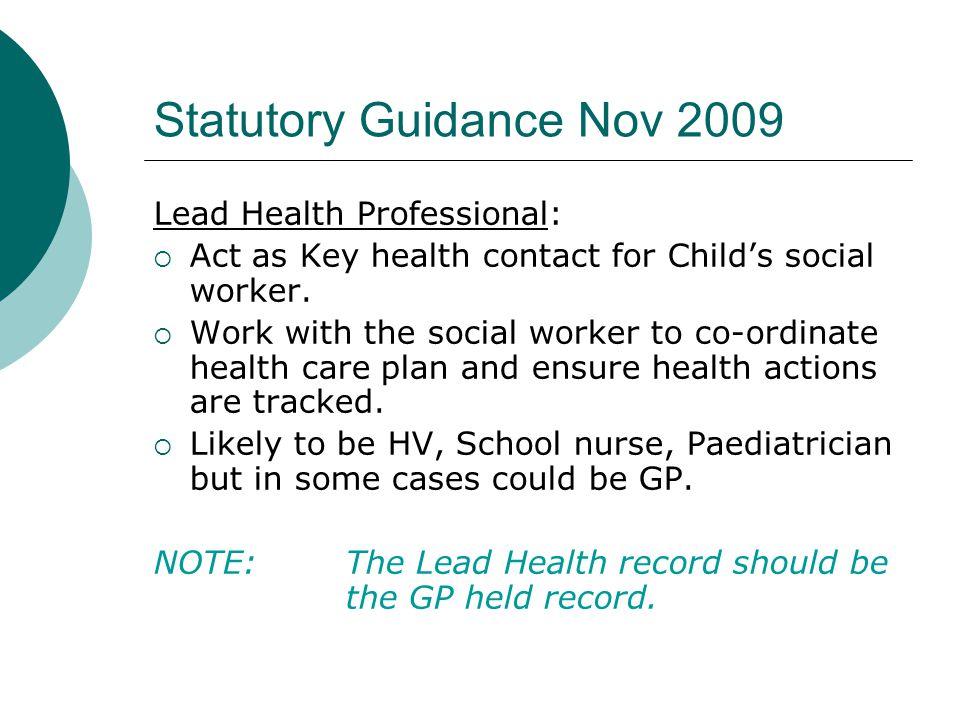 Statutory Guidance Nov 2009