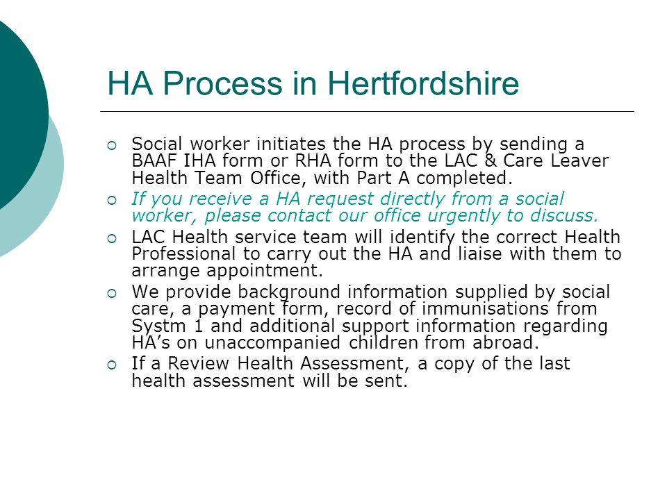HA Process in Hertfordshire