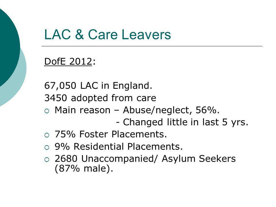 LAC & Care Leavers DofE 2012: 67,050 LAC in England.