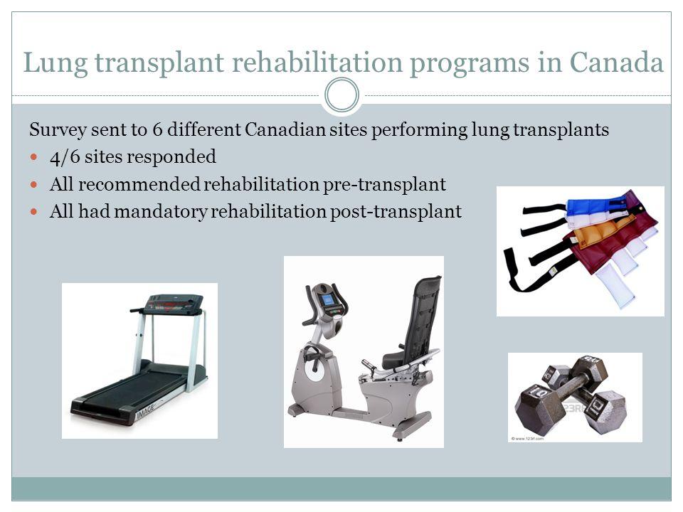 Lung transplant rehabilitation programs in Canada