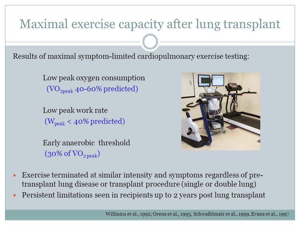 Maximal exercise capacity after lung transplant