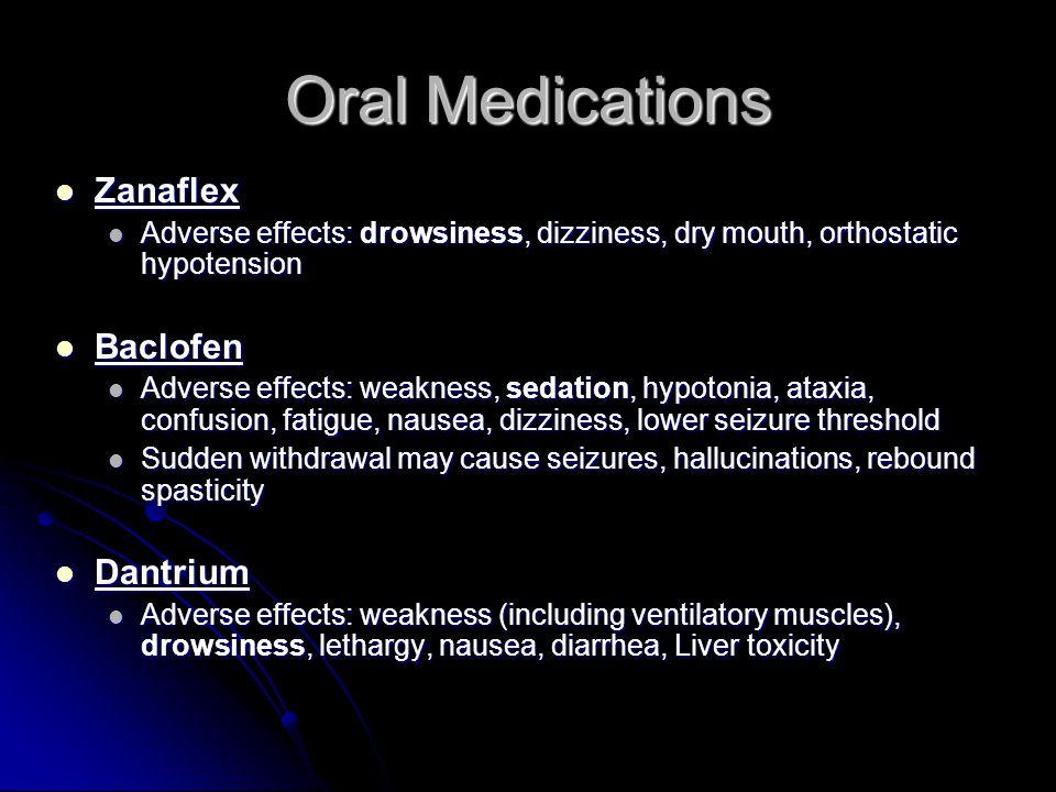 Oral Medications Zanaflex Baclofen Dantrium