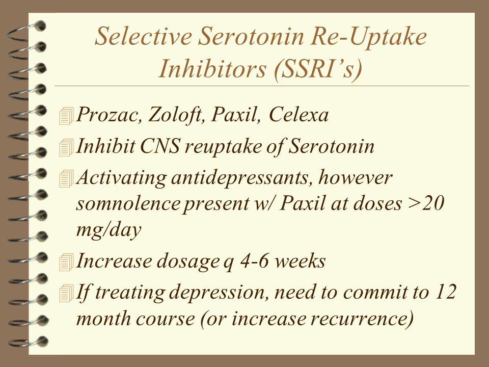 Selective Serotonin Re-Uptake Inhibitors (SSRI's)