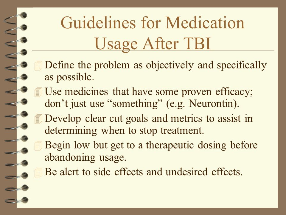 Guidelines for Medication Usage After TBI