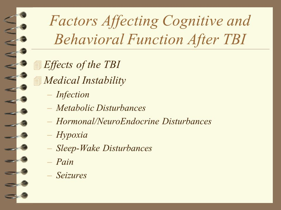 Factors Affecting Cognitive and Behavioral Function After TBI
