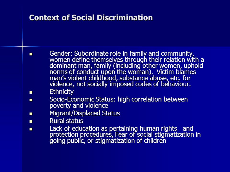 Context of Social Discrimination
