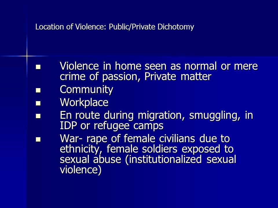 Location of Violence: Public/Private Dichotomy