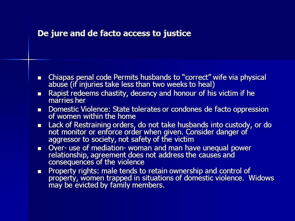 De jure and de facto access to justice