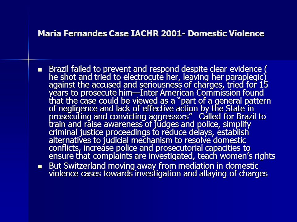Maria Fernandes Case IACHR 2001- Domestic Violence