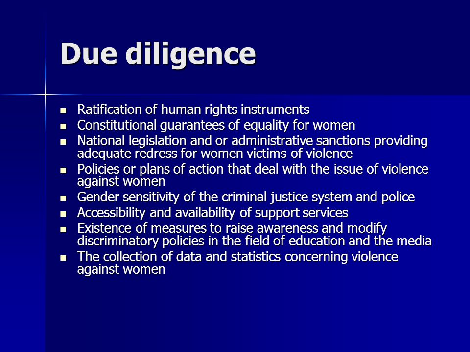 Due diligence Ratification of human rights instruments