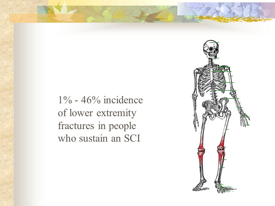 1% - 46% incidence of lower extremity fractures in people who sustain an SCI
