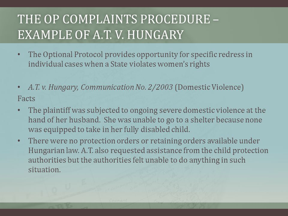 the OP Complaints Procedure – Example of A.T. v. Hungary